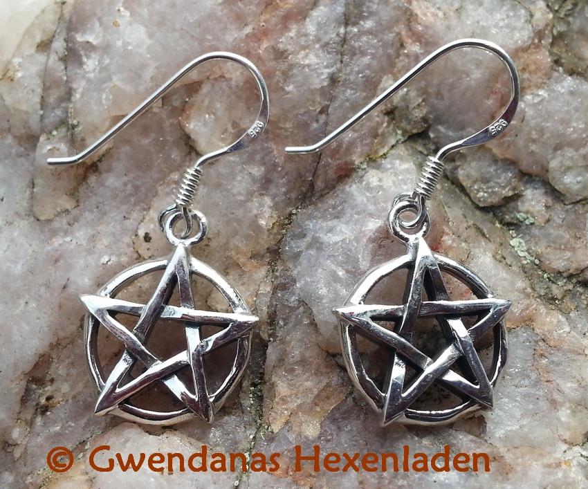 pentagramm ohrh nger silber esoterik shop ohrschmuck hexenladen. Black Bedroom Furniture Sets. Home Design Ideas